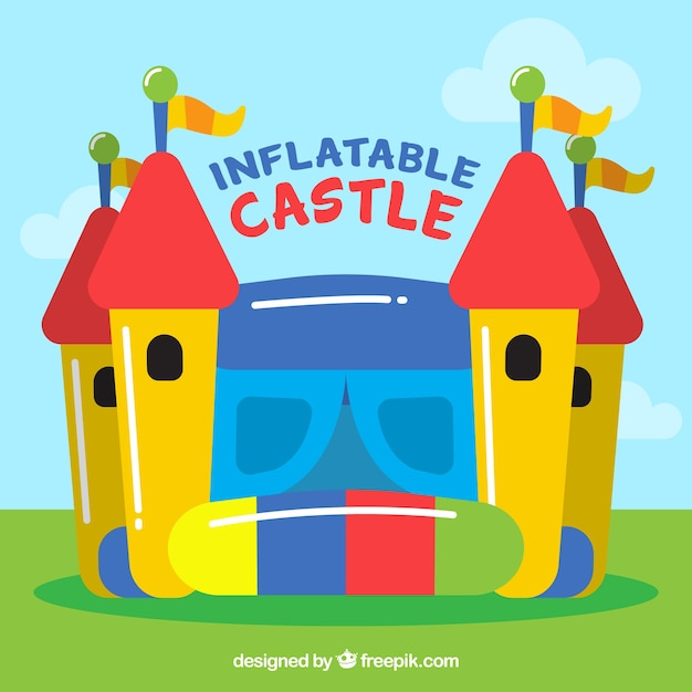 Colorful inflatable castle background Free Vector