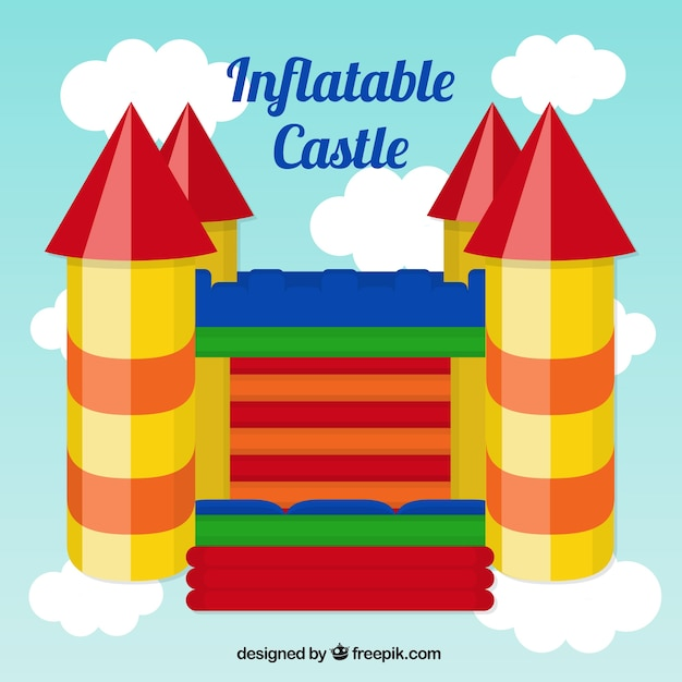 Colorful inflatable castle Free Vector