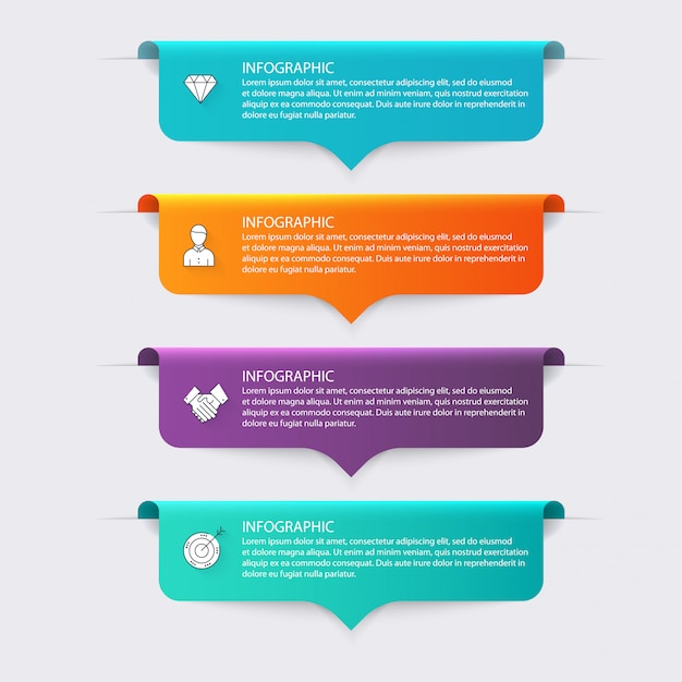 Colorful info graphics for your business presentations. Premium Vector