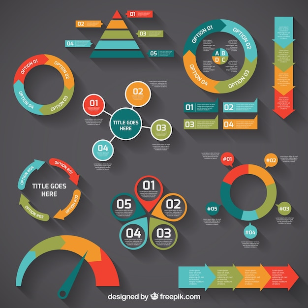 Colorful Infographic Diagrams Vector