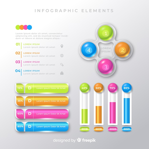 Colorful infographic element templates collection Free Vector