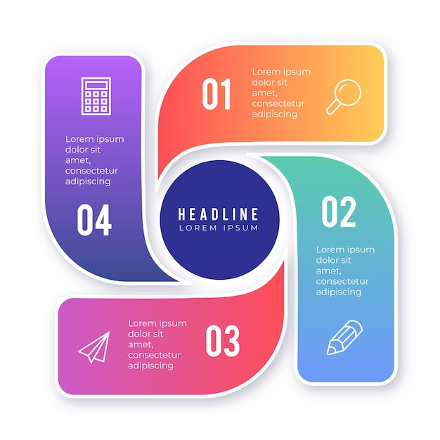 Colorful infographic element with options Free Vector