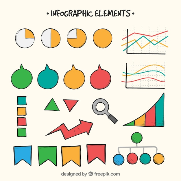 Colorful infographic elements collection in hand drawn style Free Vector