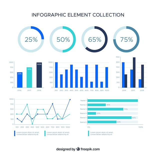 평면 스타일에 화려한 Infographic 요소 컬렉션 프리미엄 벡터