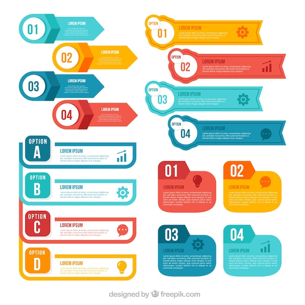 Colorful infographic elements collection Free Vector