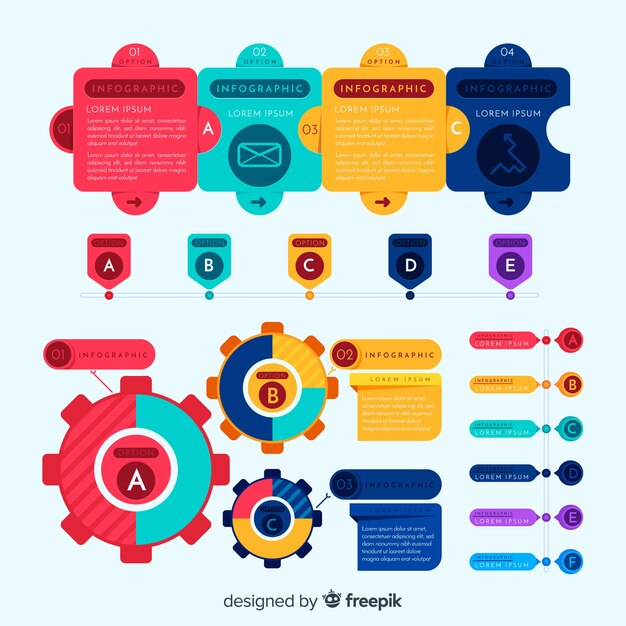 Colorful infographic elements pack Free Vector