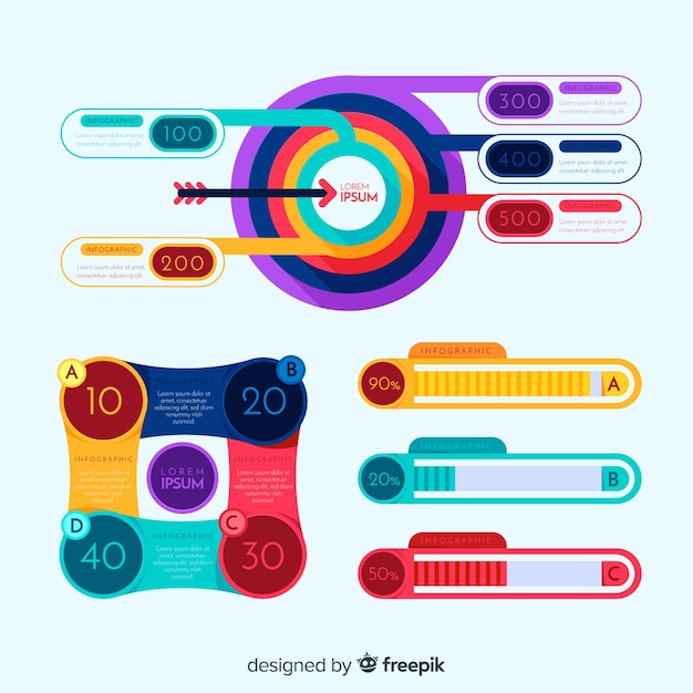 Colorful infographic elements pack Vector   Free Download