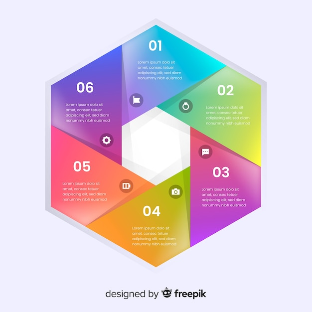 Colorful infographic gradient flat design Free Vector