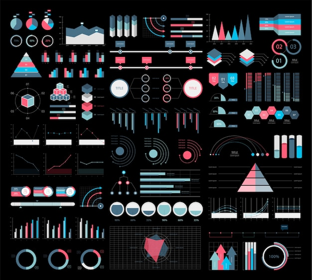 Colorful infographic graphs and diagrams illustration Free Vector