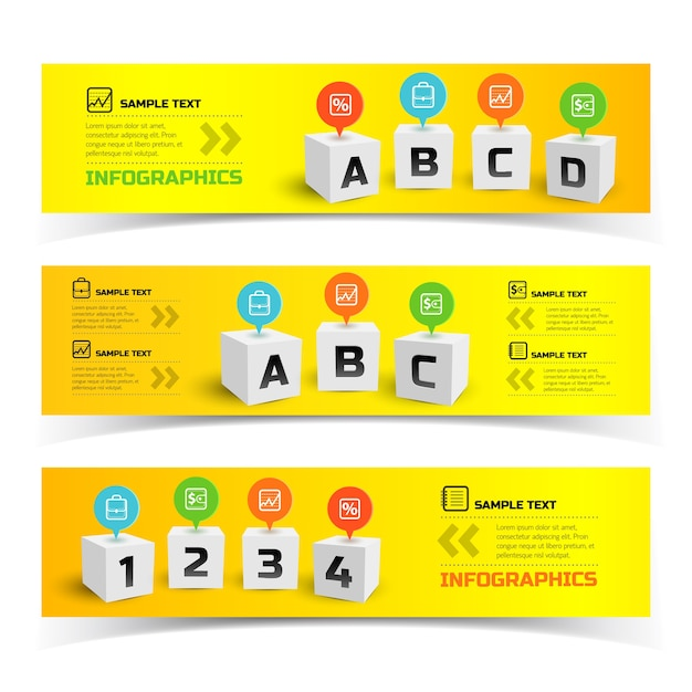 Colorful infographic horizontal banners with 3d squares Free Vector