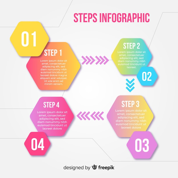 Colorful infographic steps design template Free Vector