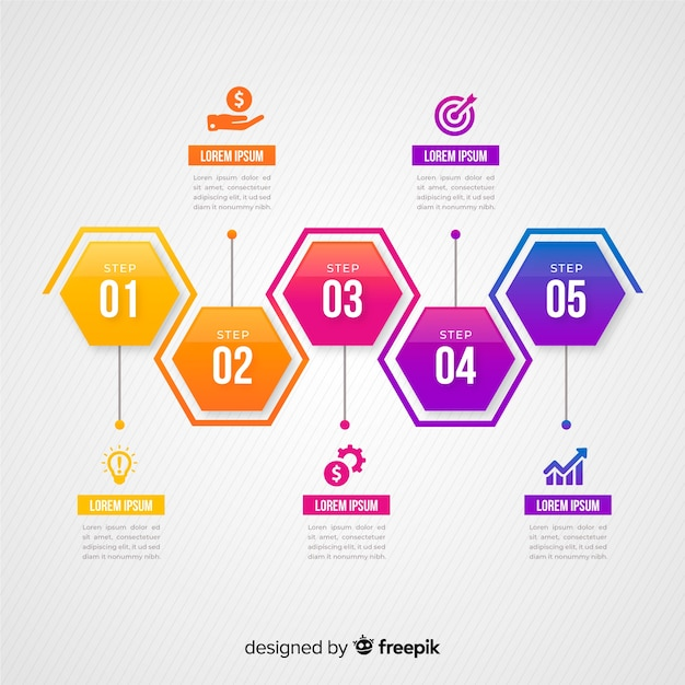 Colorful infographic steps flat design Free Vector