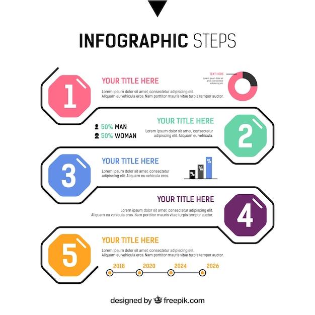 Красочные инфографические шаги в плоском стиле Бесплатные векторы