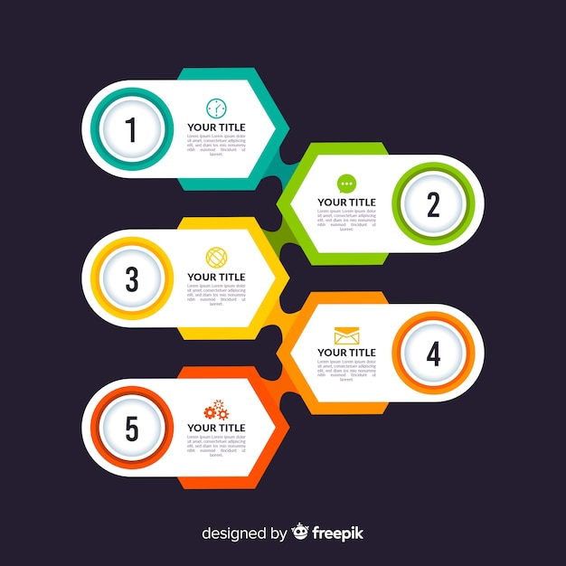 Colorful infographic steps template flat style Free Vector