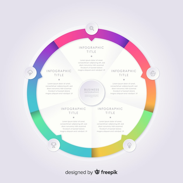 Colorful infographic template in gradient Free Vector