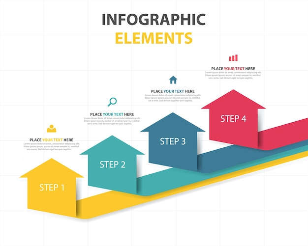 colorful infographic template with steps vector free download