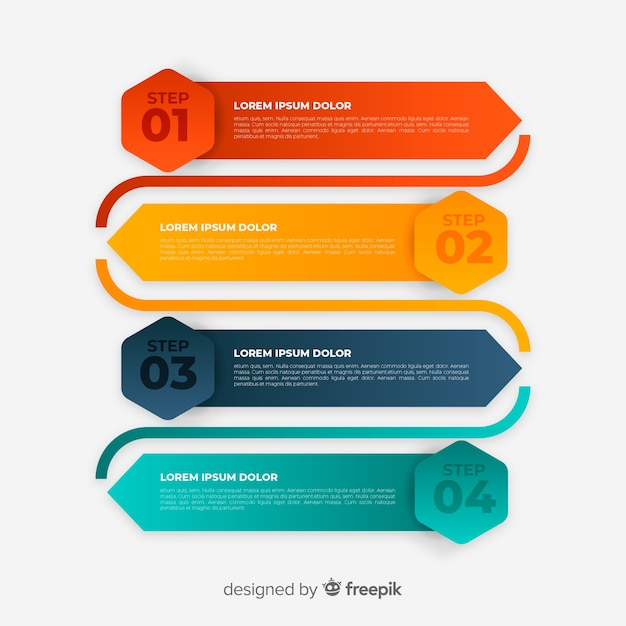 Colorful infographic template with steps Free Vector