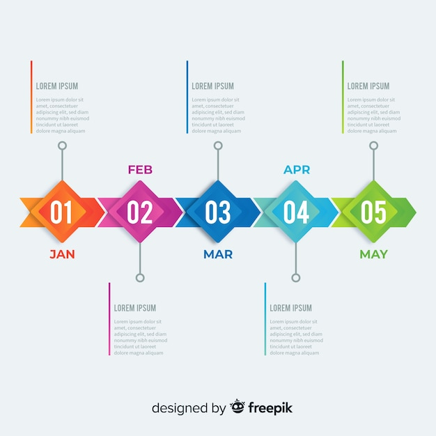 Colorful infographic timeline flat design Free Vector