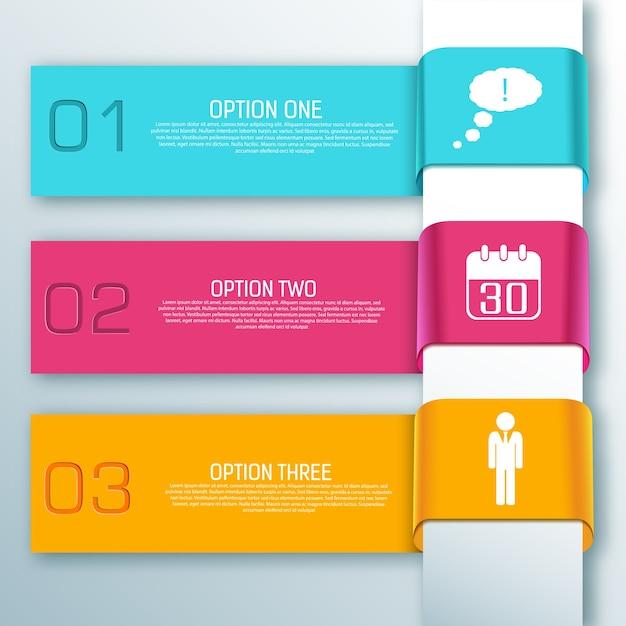 다채로운 infographic 웹 리본 가로 배너 무료 벡터