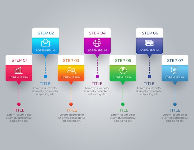 Colorful infographic with 7 options steps Premium Vector