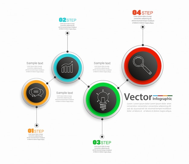 Colorful infographic with business icons Premium Vector