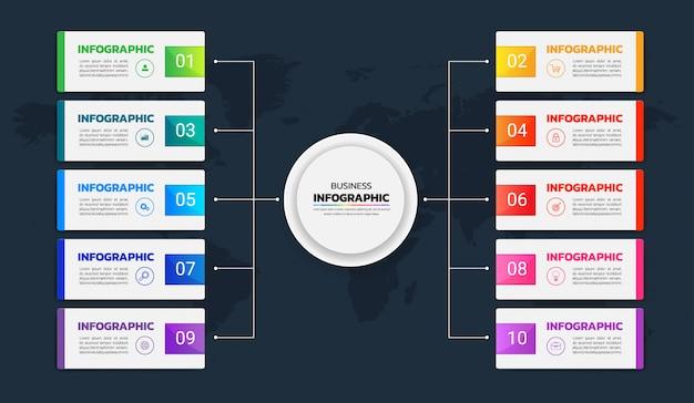 Colorful infographics diagram 10 options vector Premium Vector