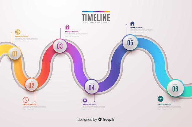 Colorful infographics timeline flat design Free Vector