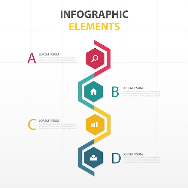 Colorful infographics with hexagonal shapes Free Vector