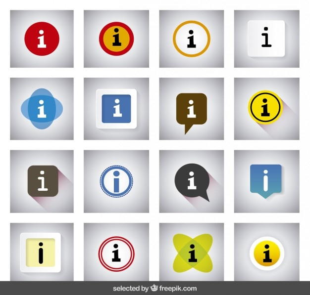 Colorful information buttons Free Vector