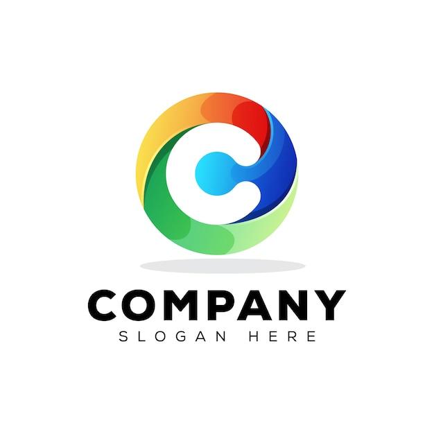 Colorful initial letter c technology logo design   template Premium Vector