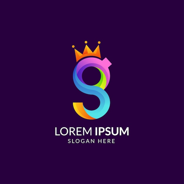 Colorful initial letter g with crown logo Premium Vector