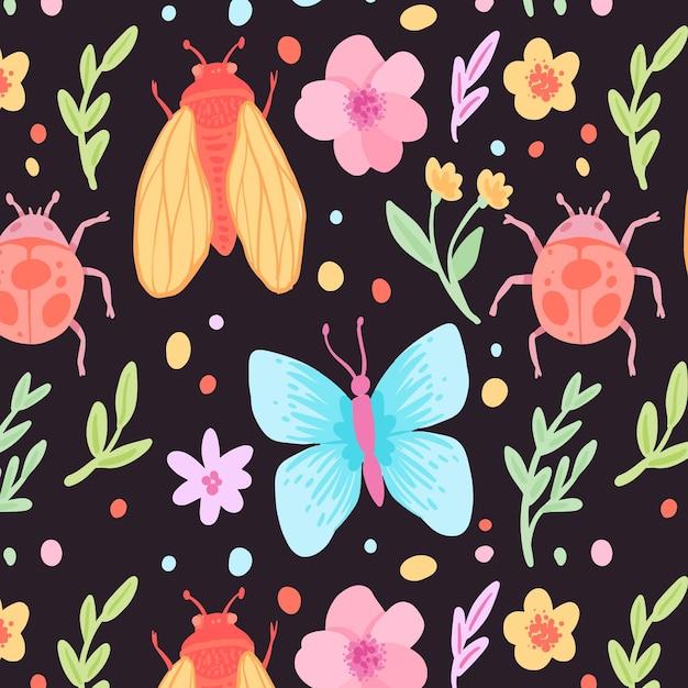 カラフルな昆虫と花のパターンテンプレート 無料ベクター