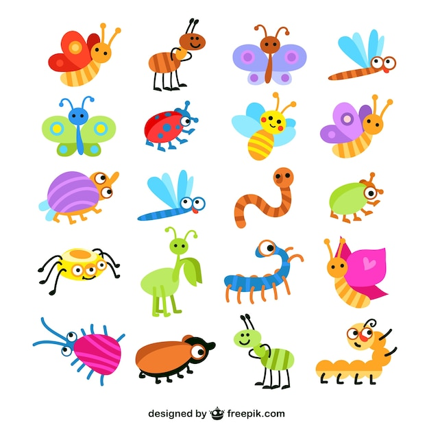 Colorful insects collection Free Vector
