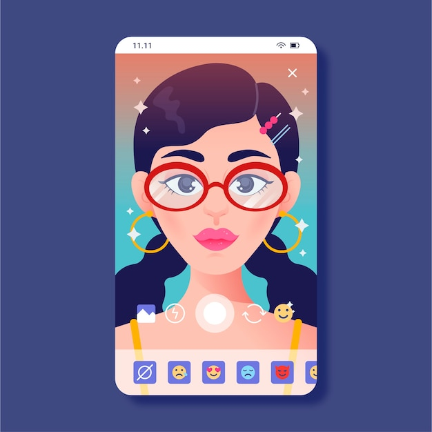 Colorful instagram filter with woman Free Vector