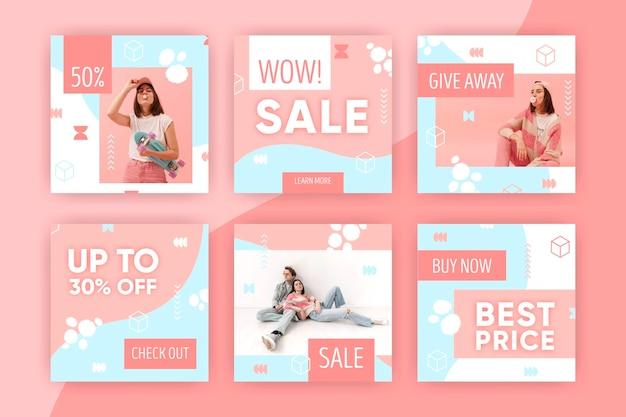 Красочный instagram продажа пост коллекции Premium векторы