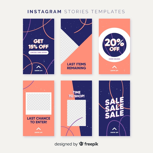 Colorful instagram stories template Free Vector