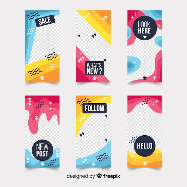 Colorful instagram stories templates Free Vector