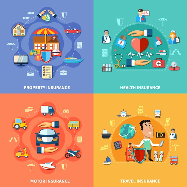 Colorful insurance flat concept Free Vector