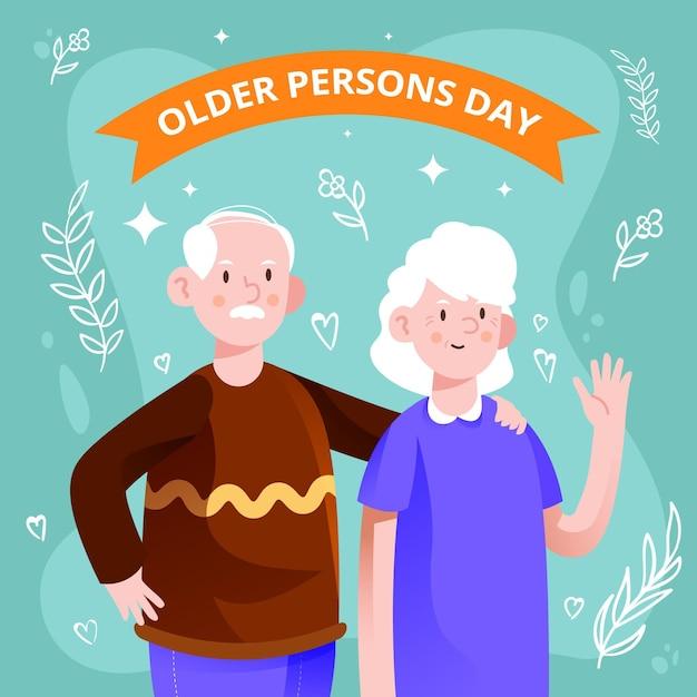 Giornata internazionale colorata dello sfondo delle persone anziane Vettore gratuito