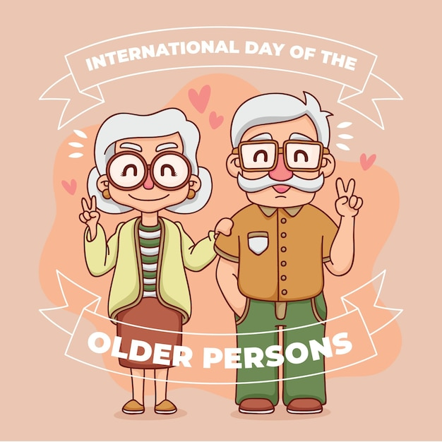 Colorful international day of the older persons with grandparents Free Vector