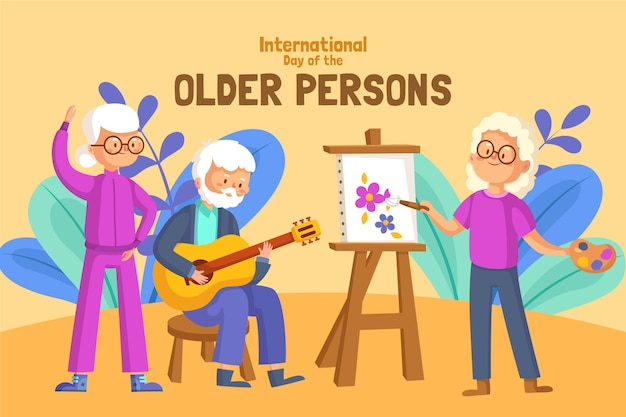 Colorful international day of the older persons Premium Vector