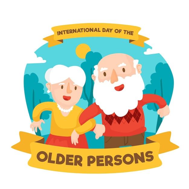 Colorata giornata internazionale delle persone anziane Vettore gratuito