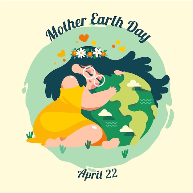 Colorful international mother earth day event Free Vector