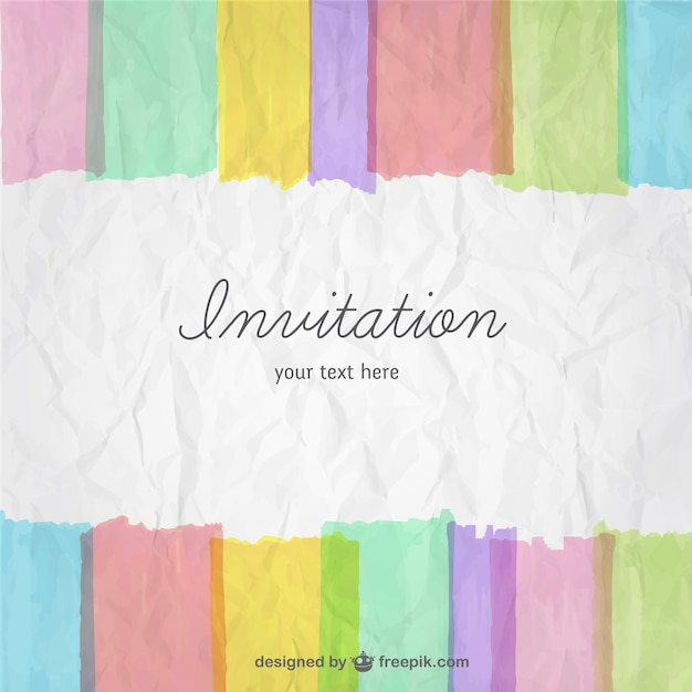 Colorful invitation card Free Vector