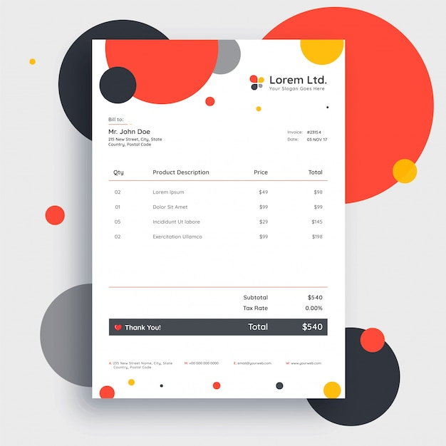 Colorful Invoice Template Design For Your Business Vector Premium