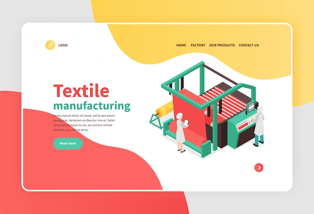 Colorful isometric banner with textile factory equipment concept 3d Free Vector
