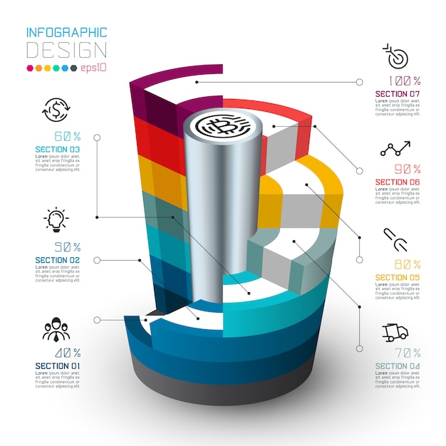Colorful isometric cylinders of infographics Premium Vector