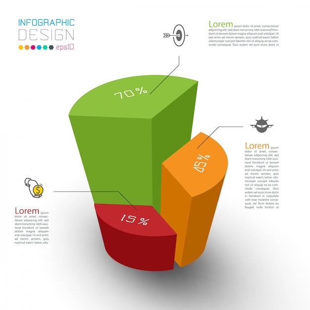 Colorful isometric cylinders of infographics. Premium Vector