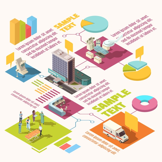 Colorful isometric hospital infographics with sample text Free Vector