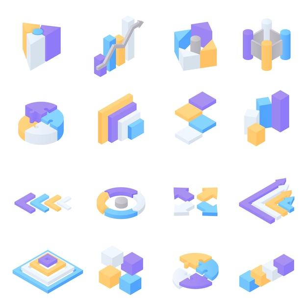 Colorful isometric infographic elements set Premium Vector